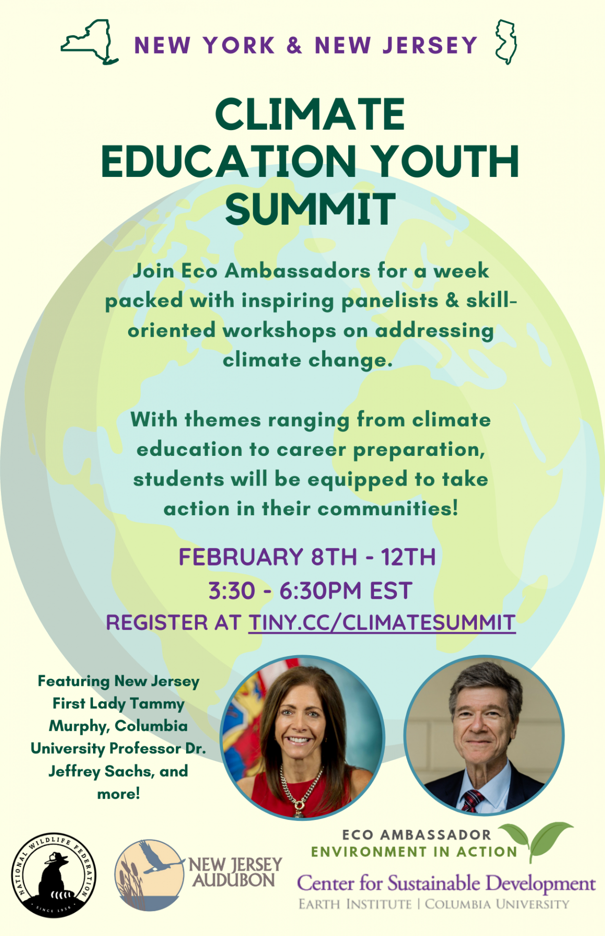 Poster about the NY NJ Climate Education Youth Summit with summary and photo of First Lady of NJ Tammy Murphy as keynote speaker and Professor Jeffrey Sachs as guest speaker